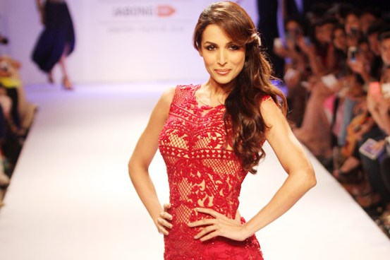 Malaika Arora Khan in Red Fish Cut Gown at Lakme Fashion Week Winter Festive 2014