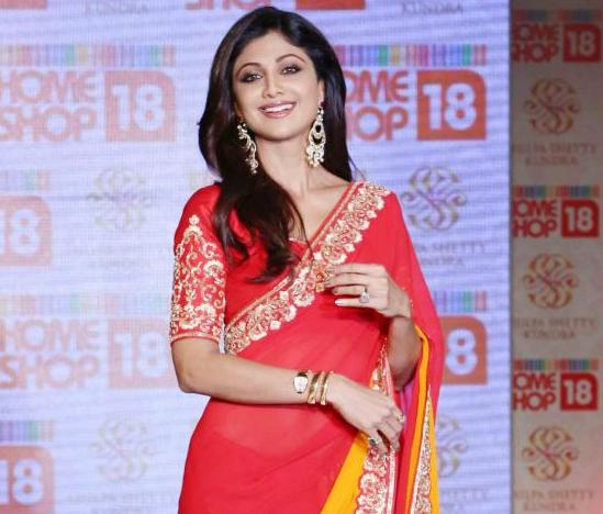 Shilpa Shetty in Red and Yellow Saree at Launched Saree Range in Delhi