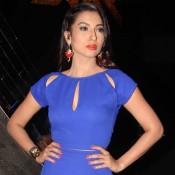 Gauhar Khan in Blue Mini Dress on India`s Raw Star Show 2014