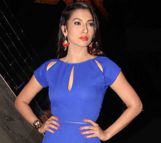 Gauhar Khan in Blue Mini Dress on India`s Raw Star Show 2014