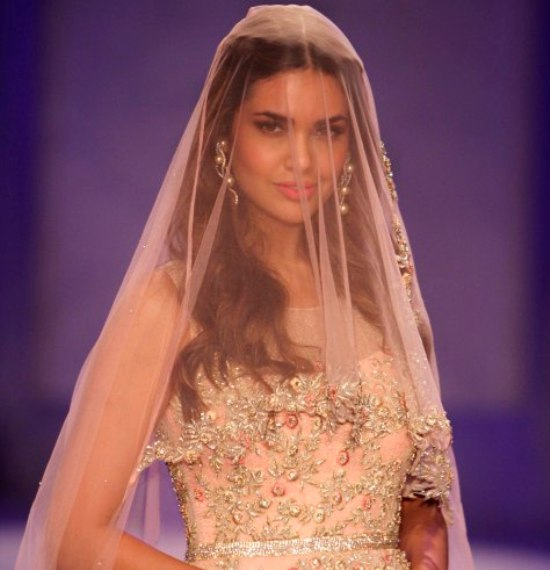 Esha Gupta in Peach Embroidery Gown at The BMW India Bridal Fashion Week in New Delhi