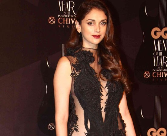 Aditi Rao Hydari in Black Lace Gown at GQ Men of The Year Awards 2014
