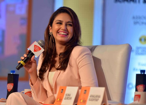 Huma Qureshi in Pink Suit at India Today Woman Summit 2014