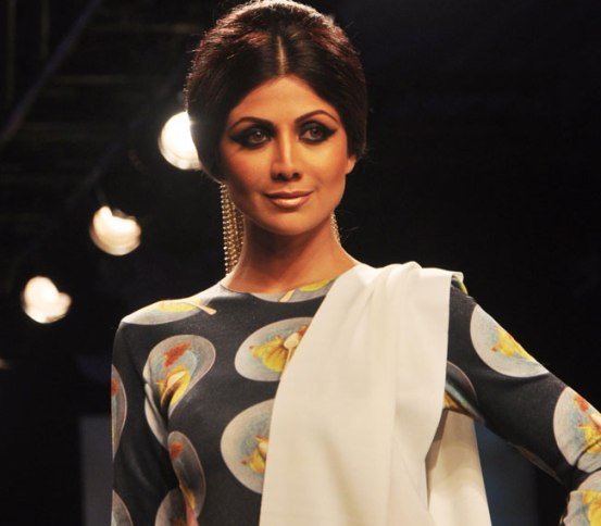 Shilpa Shetty in Black Printed Cut out Gown at Lakme Fashion Week Winter Festive 2014
