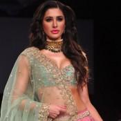 Nargis Fakhri in Pink Lehenga Choli at Lakme Fashion Week Winter Festive 2014
