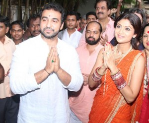 Shilpa Shetty in Orange Blouse Saree at Celebrate Ganpati Visarjan