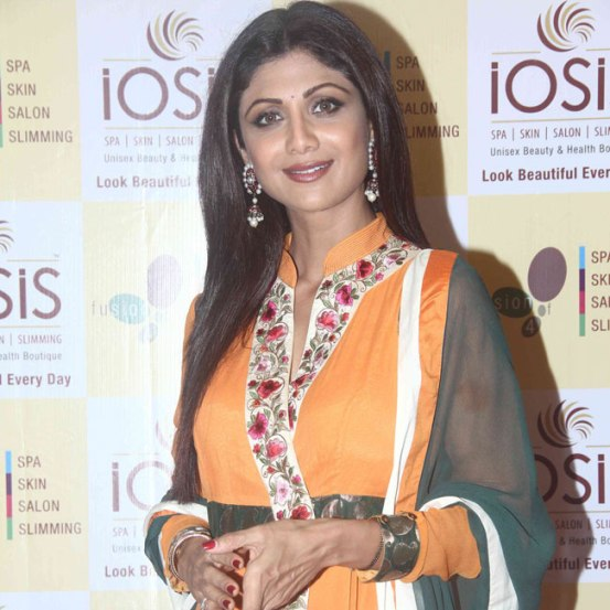 Shilpa Shetty in Orange Churidaar Suits at Inaugurates IOSIS Centre