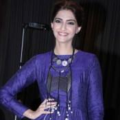 Sonam Kapoor in Dark Blue Maxi Gown at Promote Khoobsurat Movie 2014