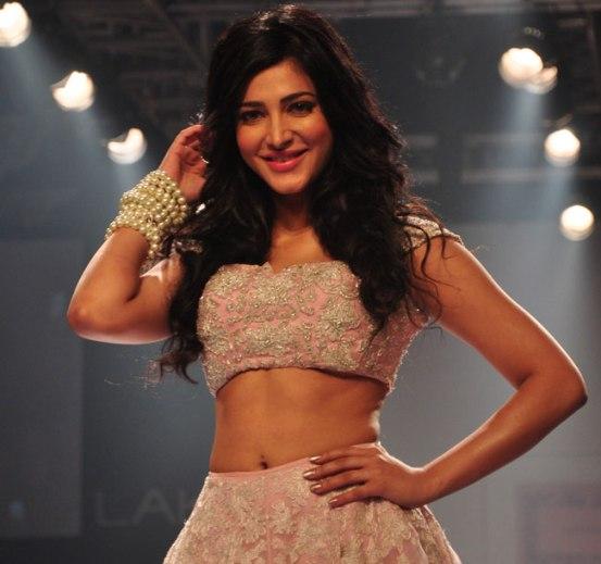 Shruti Haasan in Pink Lehenga Skirt at Lakme Fashion Week Winter Festive 2014