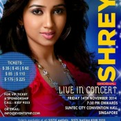 Shreya Ghoshal Live In Concert Singapore – November 2014 at Suntec City Convention Hall