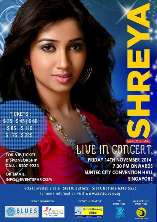 Shreya Ghoshal Live In Concert Singapore – November 2014 at Suntec City Convention Hall