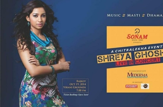 Shreya Ghoshal Live In Concert Rajkot Gujarat – October 2014 at Garden Dinner Club