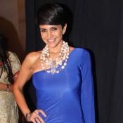 Mandira Bedi in Blue One Shoulder off Gown at Bullion Summit Fashion Show 2014