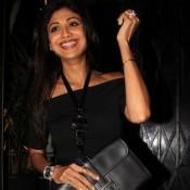Shilpa Shetty in Black White Pencil Skirt at Nido Restaurant Mumbai