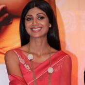 Shilpa Shetty in Red Saree from Goa Wedding Show Press Meet