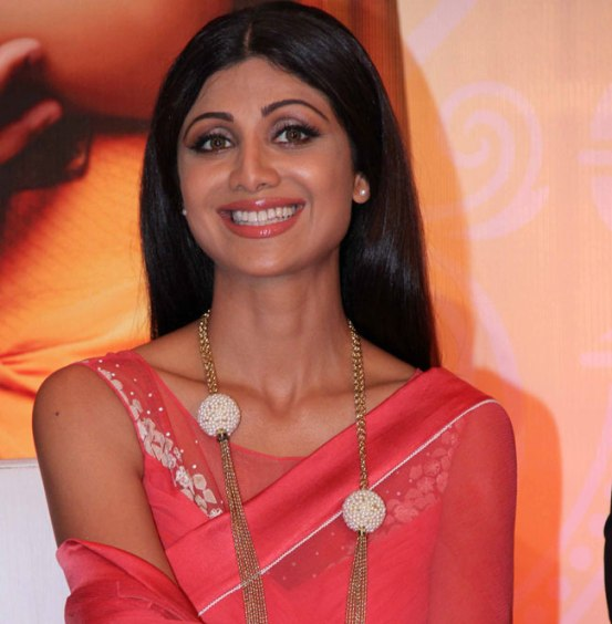 Shilpa Shetty in Red Saree from Goa Wedding Show Press Meet