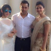 Daisy Shah in White Lehenga at Arpita Khan Wedding Function