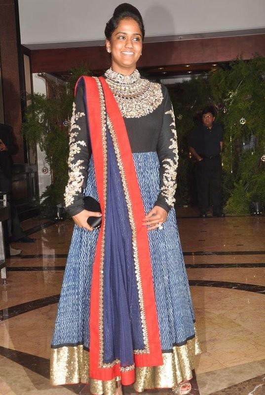 Arpita khan in Designer Sabyasachi Blue High Neck Anarkali ... Sabyasachi Anarkali 2014