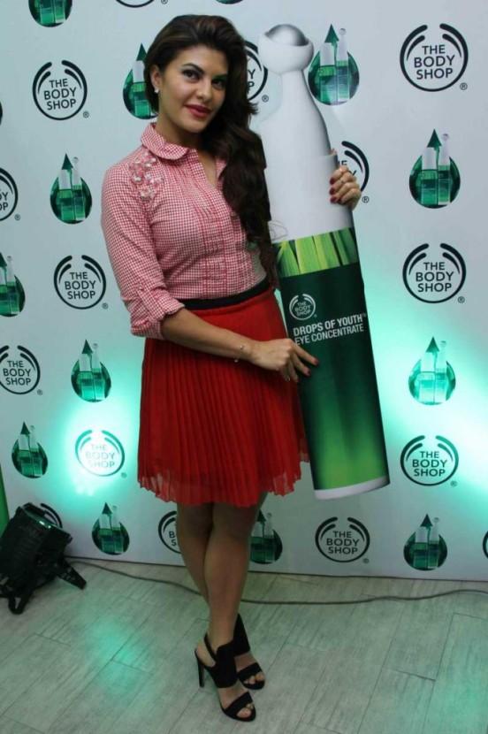 Jacqueline Fernandez In Red Short Skirt Launching Beauty