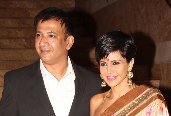 Mandira Bedi in Cream Pink Saree at Dilip Kumar Autobiography Launch Event