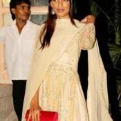 Mugdha Godse in White Floor Length Anarkali Suit at Diwali Party