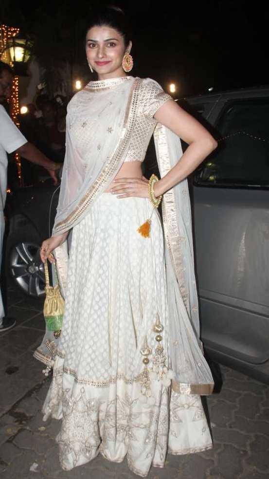 Prachi Desai In White Lehenga At Bachchan Diwali Party 2014