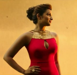 RED Close High Neck Evening Gown with Open Back – Sleeveless Party Wear Dress is looking awesome on Wet Parineeti Chopra in KILL DIL