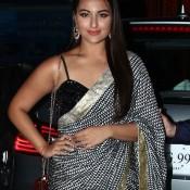 Sonakshi Sinha in Black Red Saree at Diwali Party – Latest Photos