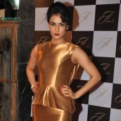 Sonal Chauhan in Golden Mini Skirt at Launch of Aurelle Jewellery Lounge