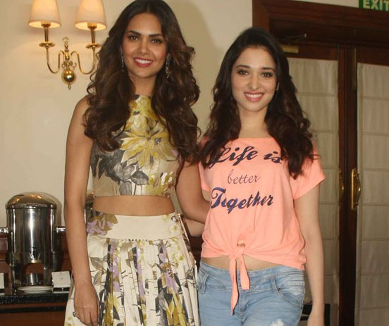 Tamannaah Bhatia in Pink Message Printed Top for Promote Humshakals Movie in New Delhi