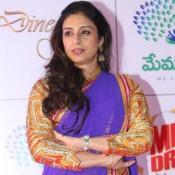 Tabu in Plain Blue Saree at Memu Saitham Dinner With Stars Event in Hyderabad