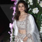 Alia Bhatt in White Embroidery Lehenga at Manish Malhotra's Niece Rriddhi Malhotra Sangeet Ceremony