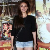 Aditi Rao Hydari in Blue Shorts Pics at Filmistaan Movie Special Screening