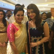 Aishwarya Rai in Blue Anarkali Dress at Jewellery Store Launch in Kerala