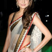 Anushka Sharma in White Saree Navel Shows Saree Pics