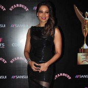 Bipasha Basu in Black Long One Piece Dress at Stardust Award 2014