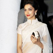Deepika Padukone in White Saree Pics Images