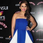 Huma Qureshi in Blue Off Shoulder Gown at Stardust Award 2014
