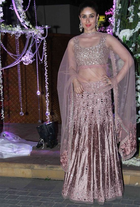 Kareena Kapoor In Pink Mirror Work Lehenga Choli For Tejas And Riddhi Malhotra Sangeet Ceremony