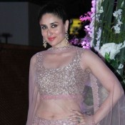 Kareena Kapoor in Pink Mirror work Lehenga Choli for Tejas and Riddhi Malhotra Sangeet Ceremony