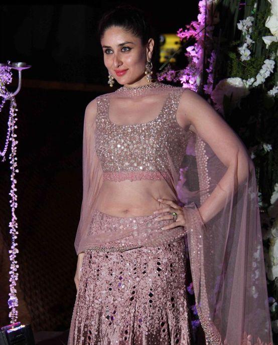 Kareena Kapoor in Pink Mirror work Lehenga Choli for Tejas ...