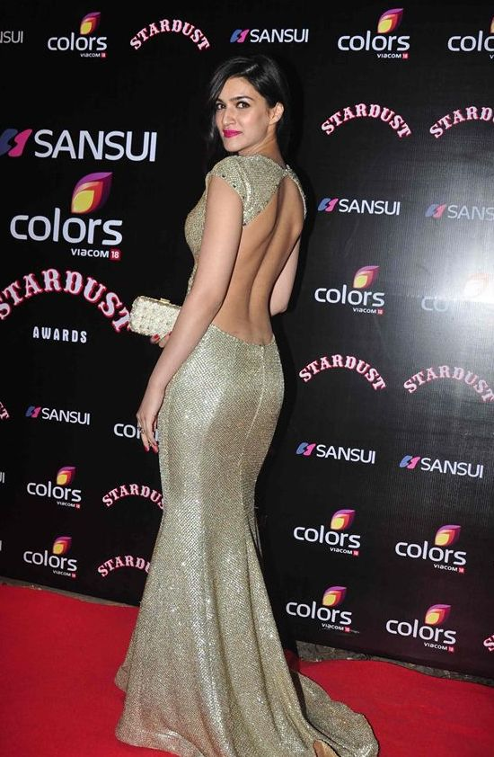 Kriti Sanon in Backless Evening Gown at Stardust Award ...