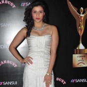Mannara Chopra in White Evening Gown at Stardust Award 2014