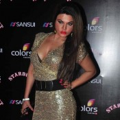 Rakhi Sawant in Golden One Piece Dress at SUNSUI Stardust Award 2014