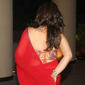 Raveena Tondan in Backless Blouse Saree Photos