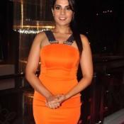 Richa Chadda in Orange One Piece Dress at Charity Art Auction
