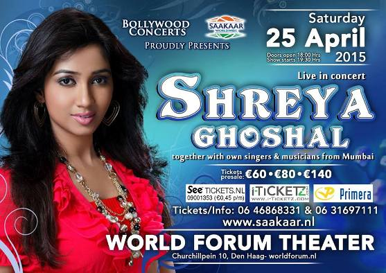 Shreya Ghoshal Live in Concert 2015 at World Forum Theater at Den Haag in Netherlands