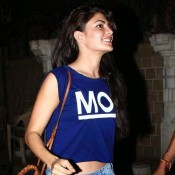 Jacqueline Fernandez Blue Crop Top at Sonam Kapoor 29th Birthday Party