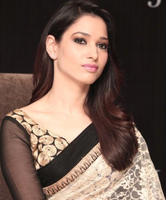 Tamanna Bhatia in White Transparent Saree Navel Images