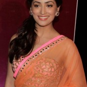 Yami Gautam Navel in Orange Transparent Saree